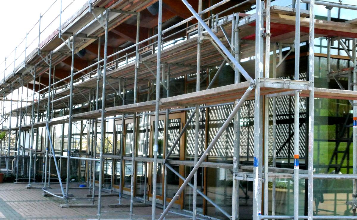 Clubhaus Gerüst Ostseite (Bildquelle: Bochumer GC)